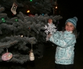 Alayna Klatt helps trim tree