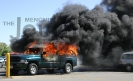 Truck fire in Angelis parking lot